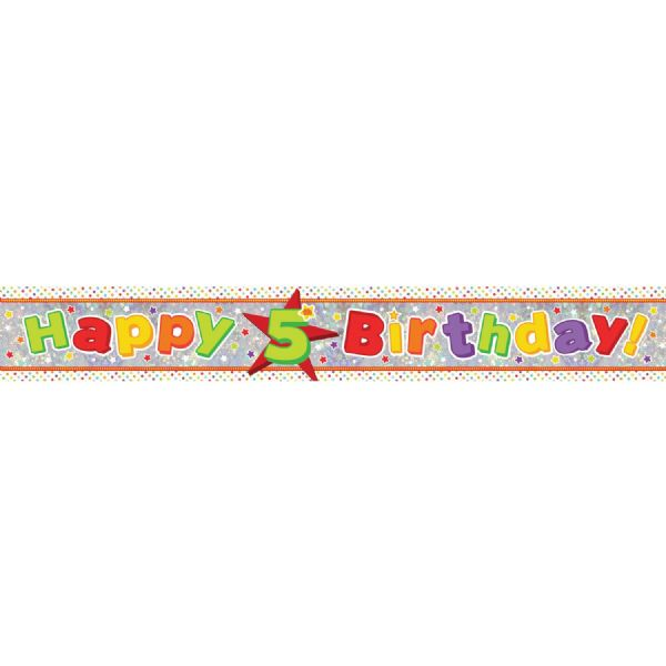 Holographic Happy 5th Birthday Foil Banner